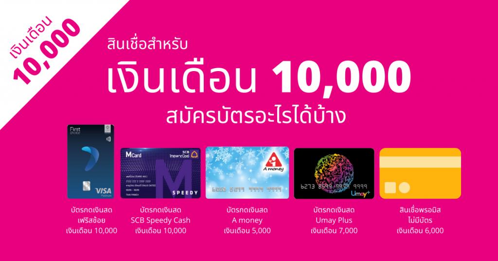 บัตรเครดิตสำหรับมนุษย์เงินเดือน 10,000