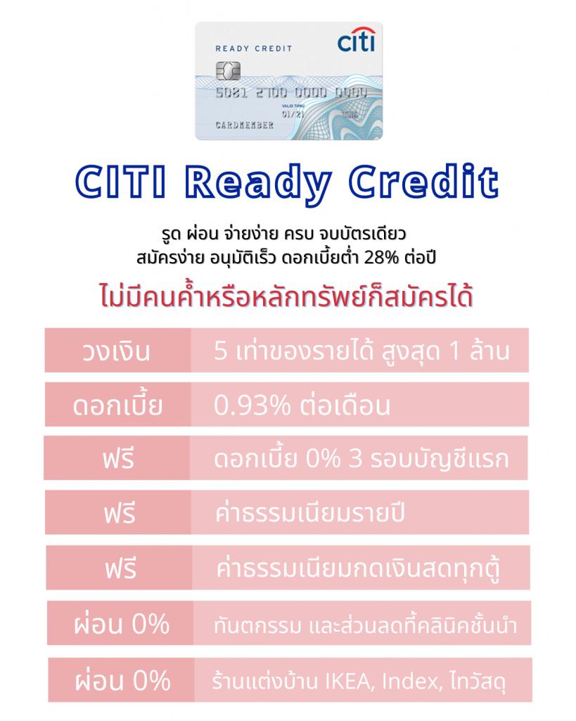 6 เหตุผลที่ต้องมีบัตรเรดดี้เครดิต Citi Ready Credit ฟรีดอกเบี้ย 0% สามรอบบัญชีแรก ไม่มีค่าธรรมเนียมรายปี ไม่ต้องกังวลค่าใช้จ่าย